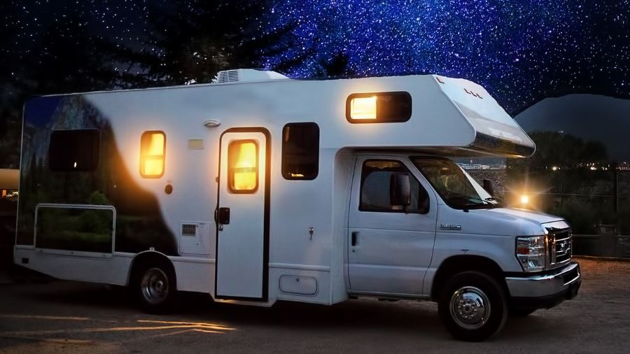 recreational vehicle at night